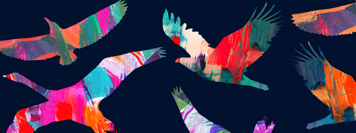 illustration of migration of colourful birds