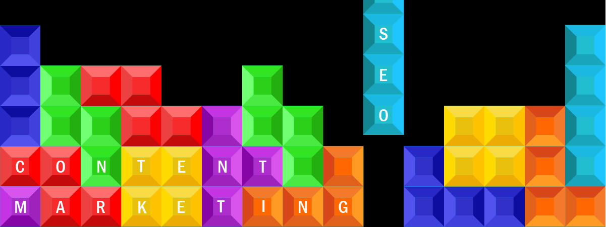 Tetris blocks captioned with SEO and Content Marketing Fitting together